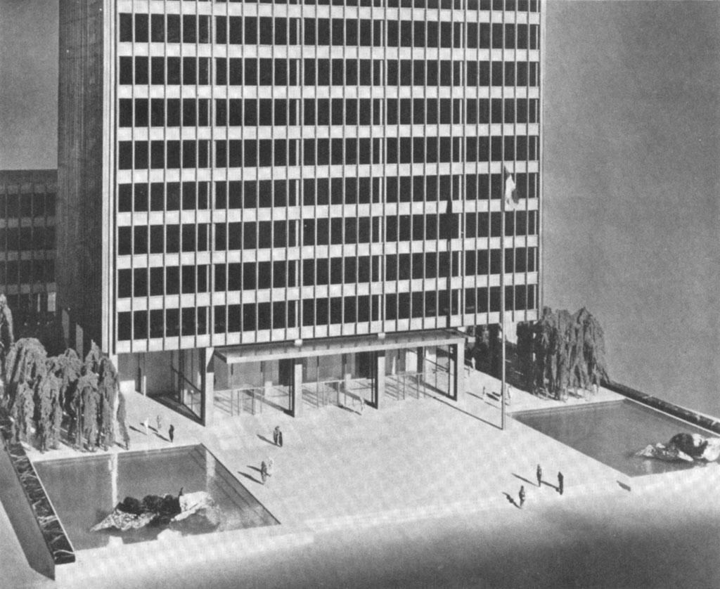 11 Mies Van Der Rohe Maquette Seagram Plaza Met Fonteinen 19691 on Friedrichstrasse Mies Van Der Rohe Plan