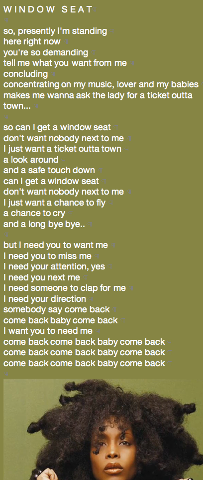 Window Seat lyrics to window seat : WINDOW SEAT LYRICS 1   designKULTUR