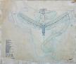 Prancha original com desenho do Plano Piloto de Brasília feito pelo arquiteto Lucio Costa em 1957, que venceu o concurso para a construção de Brasília