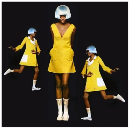 Diana Ross wearing fashion by André Courrèges, 1966.