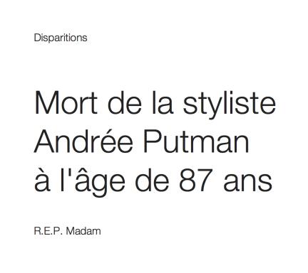 Mort de la styliste Andrée Putman   à l'âge de 87 ans