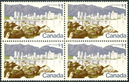 CANADA 1973 Vancouver $1.00 on Hibrite Paper in Block of 4 Stamps Mint NH